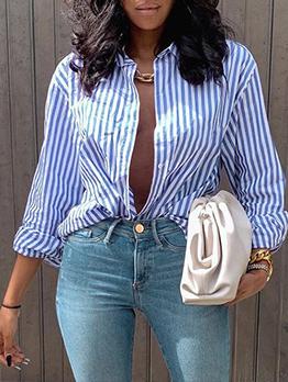 Leisure Button Down Striped Blue Blouse