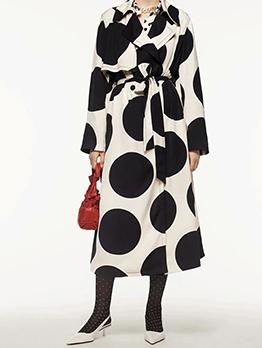 Fashion Dots Printed Notch Collar Women Long Coat