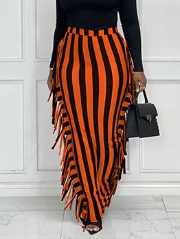 Street Striped Tassel Maxi Skirt For Women