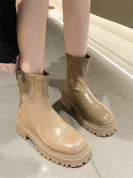 British Style Casual Chunky Ankle Boots Women