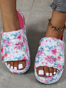 Fall Winter Printed Plush Comfy Flats Sandals