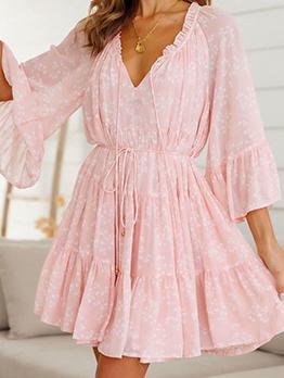 Sweet Tie-Wrap Flare Sleeve Ruffle Pink Dress