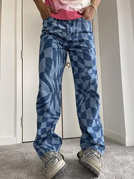 Street Straight Mid-Waist Denim Grid Jeans For Men