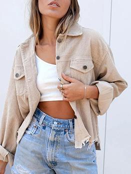 Fashionable Solid Pocket Corduroy Long Sleeve Jacket