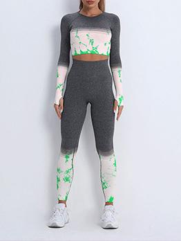 Sporty Yoga Contrast Color 2 Piece Pant Sets