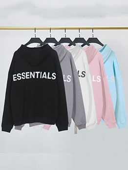 Casual Letter Printed Pocket Hoodies For Men