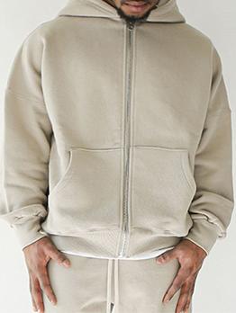 Street Zipper Up Hooded Collar Men Coat