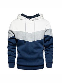 Contrast Color Loose Cotton Hoodies For Men