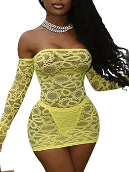 Seductive Perspective Lace Nightclub Short Dress