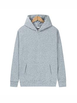 Simple Design Solid Pocket Hoodies For Men