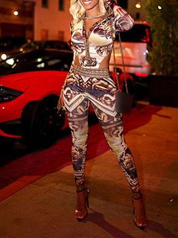 Trendy Printed Turndown Collar 2 Piece Pant Sets