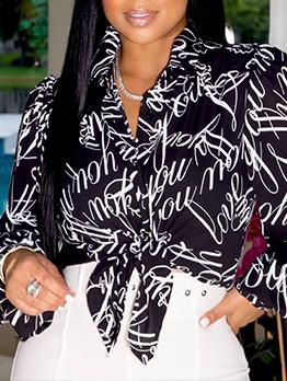 Fashion Print Tie-Wrap Long Sleeve Black Blouse
