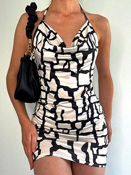 Sexy Backless Printed Halter Mini Dress
