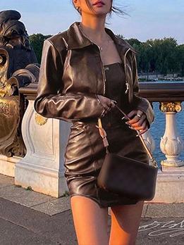 Sexy Solid Zipper Coat  Strapless Dress Sets