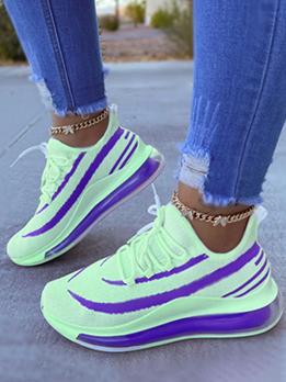 Fresh Contrast Color Lace Up Gauze Elevator Shoes