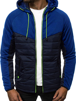 Contrast Color Stylish Winter Hooded Outerwear