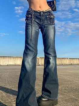 Trendy Blue Denim Low Waist  Flare Bootcut Jeans