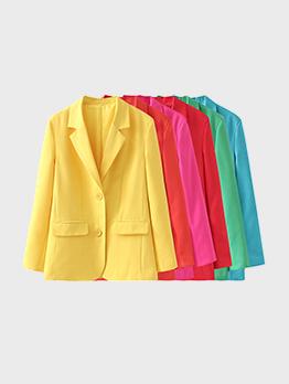 OL Style Solid Notch Collar Blazer Coat