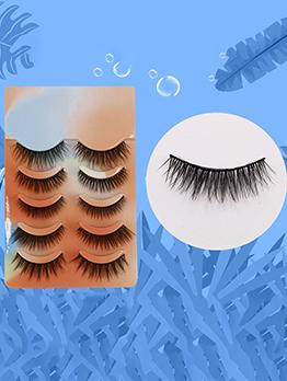 Natural Plain Black 5 Pairs Pack False Eyelashes