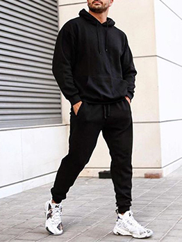 Solid Casual Two Pieces Pants Set For Men
