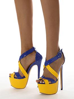 Sexy Contrast Color Stiletto Platform Heels For Women