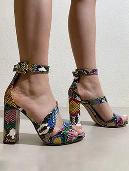Popular Snake Print Design Sandals For Women