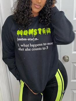 Letter Print Crew Neck Long Sleeve Sweatshirt