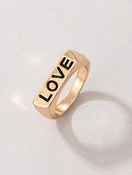 Simple Letter Geometry Shape Golden Ring