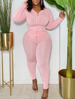 Sexy Skinny Solid Casual Plus Size Two Pieces Set