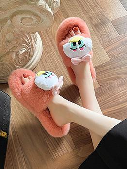 Cute Cartoon Home Casual Flat Fluffy Slippers