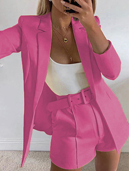 Trendy Blazer Coat 2 Piece Short Pant Sets
