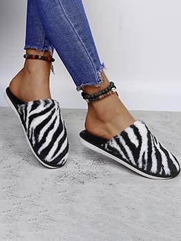 Home Contrast Color Winter Mules Shoes