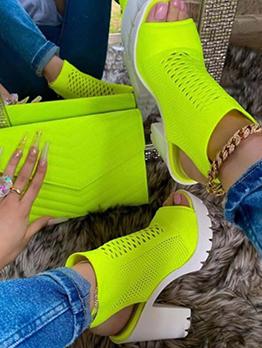 Leisure Solid Gauze Chunky Heeled Sandals