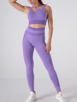 Comfy Latest Style Solid Sleeveless Yoga Sets