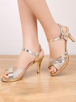 Spring Peep-Toe Heeled Sandals For Ladies