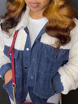 Winter Contrast Color Patch Plush Short Coat