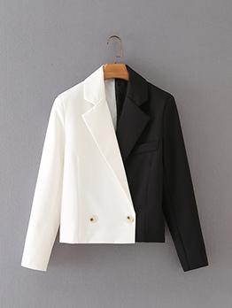 Contrast Color White Black Short  Blazers Coat
