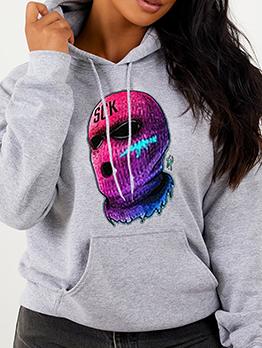 Colored Mask Printed Drawstring Plus Size Sweatshirts