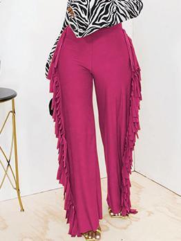 Latest Solid Tassel Wide Leg Long Pant For Women