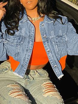 Creative Contrast Color Turn-Down Collar Denim Jacket
