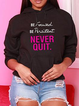 Casual Letter Hooded Black Ladies Sweatshirts