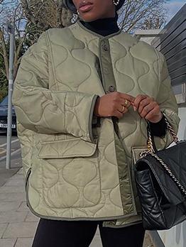 Autumn Pocket Long Sleeve Cotton Women Coat