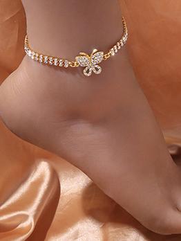Simple Rhinestone Butterfly Design Ladies Anklet