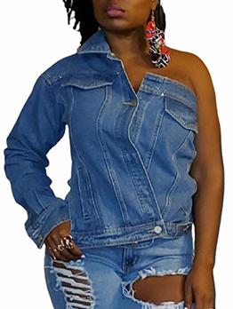 Special Solid One Shoulder Denim Jacket For Women
