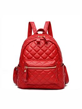 Travel Rhombus Lattice Unisex Solid Zipper Soft Backpack
