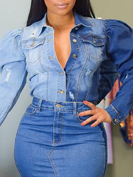 Street Contrast Color Pocket Long Sleeve Denim Jacket