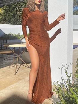 Elegant Backless Shining Slit Maxi Party Dress