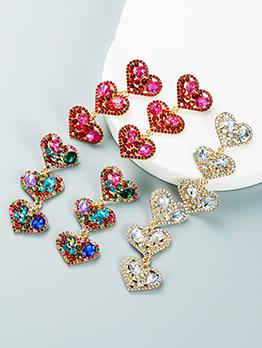 Ladies Trendy Heart Rhinestone Pendant Earring
