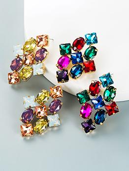 Multicolored Geometric Rhinestone Earring For Women