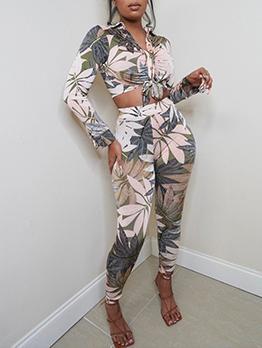Modern Leaf Printed Cropped Ladies Trouser Suits